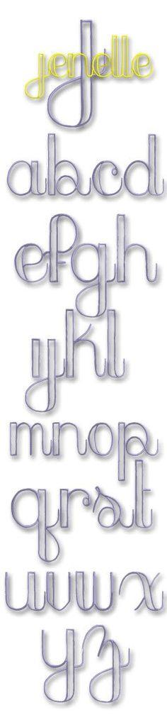 Jenelle Monogram Set- Machine Embroidery Font Alphabet Letters thin cursive outline great for boys a Monogram Alphabet, Monogram Fonts, Font Alphabet, Monograms, Embroidery Monogram, Embroidery Fonts, Machine Embroidery, Hand Lettering Fonts, Typography