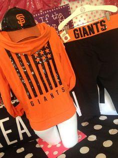 Victorias Secret PINK SF Giants Baseball Sequin BLiNG Hoodie Yoga Leggings & Hat #sfgiants #VictoriasSecretPINK #TrackSweatSuits