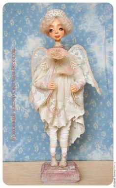 Купить авторская кукла  АНГЕЛ БЕЛЫХ ЦВЕТОВ - бежевый, авторская кукла, коллекционная кукла