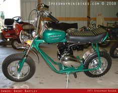 Speedway Minibike. I had one almost exactly like this. Same make. Same color. The only difference was mine didn't have a headlight. I can still remember how strong it was. It was my favorite minibike.