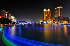 Night of Love River at Kaohsiung 高雄愛河 Taiwan Culture, May Bay, Night City, Marina Bay Sands, White Sand Beach, Asia Travel, Adventure Travel, Places To Go, River