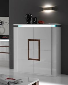 Dalia, Modern 4- Door Cabinet with a Light in White Lacquer With a Walnut Effect Detail