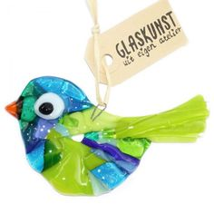 Handgemaakte glazen vogel van blauw en groen glas. Fraaie decoratie van speciaal glas.