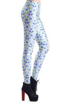 Panda Face Cross Pattern Print Leggings #Romwe