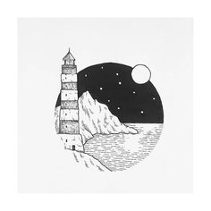 Lovely lighthouse by @lostswissmiss #blackworknow if you would like to be featured""