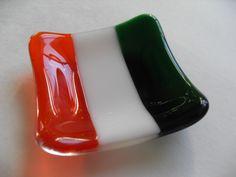 Irish Flag fused glass mini dish. $15.00, via Etsy.