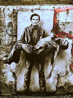 """ERNEST-PIGNON-ERNEST (né en 1942), """"Pasolini assassiné - Si je reviens"""", Rome, détail, 2015."""