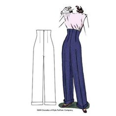 1940s Empire Waist Trousers for classic Katharine Hepburn pants- #4004 – Decades of Style Pattern Company