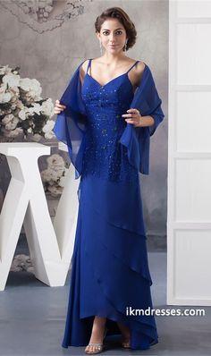 http://www.ikmdresses.com/Royal-Blue-Asymmetrical-Chiffon-A-Line-Spaghetti-Straps-Mother-of-the-Bride-Dress-p21755