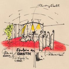 Romchamp Tomorrow by Renzo Piano-I am not enamored with Piano's monastery built near the site of Le Corbusier's chapel in Ronchamp, but I love his sketchy drawings of light and form.