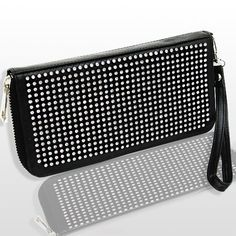 """HOT HOT HOT Our #1 BESTSELLER BLING DOUBLE SIDED WALLET/WRISTLET w/ziptop by Jersey Bling Jersey Bling Clutches. $48.99. zippered top. BEAUTIFUL AMAZING QUALITY. leather-and-synthetic lining. 1.25"""" high. wristlet removable strap. double sided crystals. 4"""" wide. id, cc, cash and coin sections"""