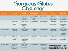 October's Challenge is here! The Gorgeous Glutes Challenge! It takes one month and about 5 minutes to complete, especially in the beginning! #fitness #challenge #workout #exercise #monthlychallenge #focus #heandsheeatclean