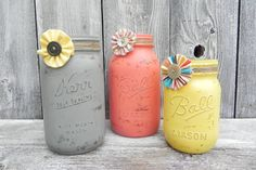 Grey Coral and Yellow SHABBY CHIC Mason Jar Set by sixtybeansVntg, $28.95