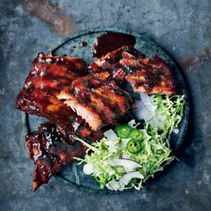 Chinese sticky hot ribs with cabbage-and-coconut slaw Braai Recipes, Pork Rib Recipes, Asian Recipes, New Recipes, Cooking Recipes, Ethnic Recipes, What's Cooking, Easy Recipes, Recipies