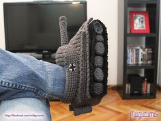 Tiger 1 Panzer Tank Crocheted Slippers by miligurumis on Etsy. I would learn how to crochet just to make these.