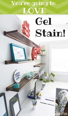 Install floating wood shelves in your home or office for extra storage and display area. : Install floating wood shelves in your home or office for extra storage and display area. Home Office Decor, Diy Home Decor, Room Decor, Decor Crafts, Wall Decor, Diy Crafts, Diy Furniture Projects, Furniture Makeover, Office Furniture