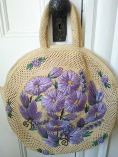 Vintage 60's Lavender Embroidered Straw by JulesCristenVintage