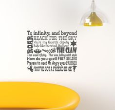 Pixar Toy Story Buzz Woody Infinity and Beyond Vinyl Decor Wall Subway art Lettering Words Quotes Decals Art Custom Willow Creek Signs Toy Story Buzz, Toy Story Party, Toy Story Birthday, Pixar Quotes, Disney Quotes, Wall Quotes, Words Quotes, Sayings, Creative Lettering And Beyond
