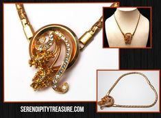 serendipitytreasure.com #etsy shop: Rhinestone flower necklace - gold flat chain- orange clear crystal - collar necklace http://etsy.me/2ofcOp8 #jewelry #necklace #orange #gold #unisexadults #glass #orangerhinestone #citrineglass #clearrhinestone