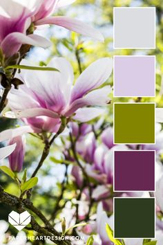 Spring Flower Inspired Color Palette – Greens and Purple Color inspiration! Color Schemes Colour Palettes, Spring Color Palette, Green Colour Palette, Spring Colors, Spring Flowers, Purple Color Schemes, Color Combinations, Paint Color Combos, Pantone