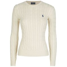 Polo Ralph Lauren Julianna Cable Knit Cotton Sweater (185 AUD) ❤ liked on Polyvore featuring tops, sweaters, shirts, white shirt, slimming shirts, preppy shirts, cable-knit sweater and white top