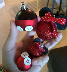 10 Disney Holiday Crafts for Kids Homemade Mickey and Minnie Ornaments by Delightfully Disney Mickey Christmas, Christmas Ornaments To Make, Noel Christmas, Diy Ornaments, Homemade Ornaments, Disney Christmas Trees, Kids Ornament, Christmas Bulbs, Dough Ornaments