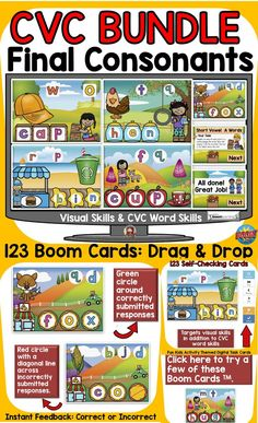 This kid-activity-themed bundle features 123 Boom Digital Cards on identifying the ending sounds/ final consonants and spelling CVC short vowel (a,e,i,o,u) words. Word Skills, Phonemic Awareness Activities, E Words, Social Studies Resources, Teaching Phonics, High School Classroom, English Reading, Short Vowels, Australian Curriculum