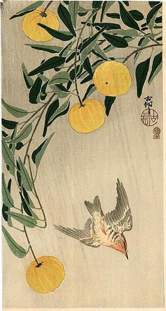 Ohara Koson (1877-1945): Wren and Yellow Fruit