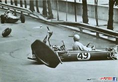 """Monaco F2 (?) Race, 1966  Frenchman Patrick Gransart does a """"just looking at you babe"""" neck turn, while finding himself without wheels or control... No record of what followed."""