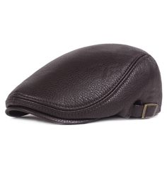 79dd342204a Men Winter Warm PU Leather Solid Beret Cap Newsboy Buckle Adjustable Casual  Outdoors Peaked Hat is hot sale on Newchic Mobile.