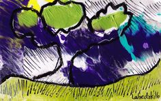 Original LABEDZKI abstract painting outsider art HURRICANE WINDS 5x8 inch #Abstract