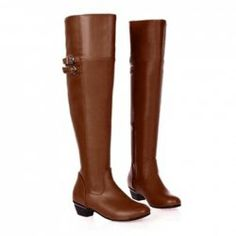 $20.28 British Style Women's Over The Knee Boots With Buckle and Low Heel Design