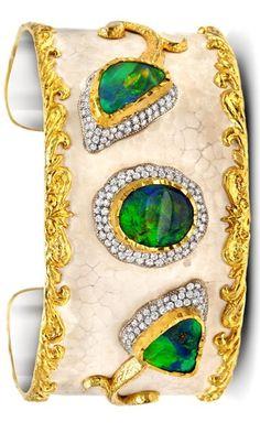 Victor Velyan bracelet with black opals and diamonds.