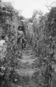 Lt. Col Murray VC DSO DCM (then a Second Lieutenant in the 13th Battalion) in a trench on Cheshire Ridge, Gallipoli, 1915. Australian War Memorial, J06052