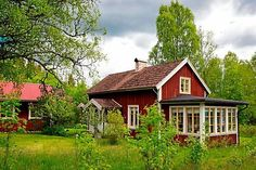 Siding Colors For Houses, Swedish Cottage, Sweden House, Red Houses, Villa, Cottage In The Woods, Cottage Style Homes, Cute House, Cabins And Cottages