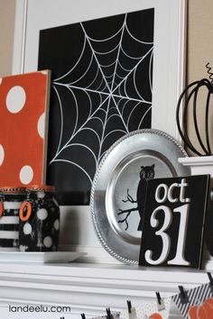 halloween mantel printable spiders web
