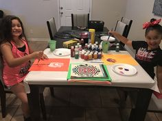 My bunnies painting away!!! Gotta love summertime, no time limits on fun!😍🌺💜💕