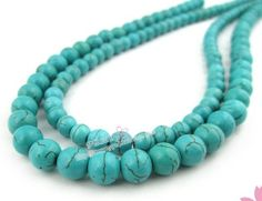 48X 8mm Natural Turquoise Round Loose Beads
