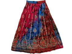 "Womens Fashion Boho Gypsy Skirt Tie-Dye Red Floral Print Long Sequin Skirts 36"" | eBay"