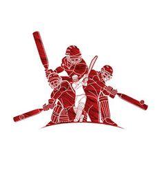 Group cricket players action cartoon sport vector image on VectorStock