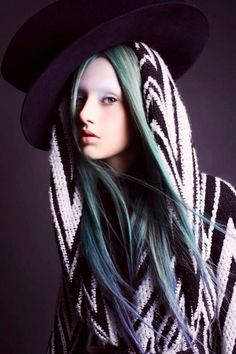 Long green & blue hair