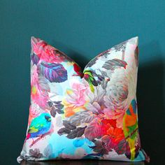 Floral Pillow Cover - Bird Pillow Cover - Multi Color Pillow Cover - Tropical Pillow Cover - Neon Pillow - Colorful Pillow - Designer Pillow - - - - - - Lumbar Pillow Cover - 2017 - Bright Pillow Cover - Floral Nursery Decor - Colorful Nursery Decor This Bright Pillows, Floral Pillows, Colorful Pillows, Floral Fabric, Colorful Decor, Floral Nursery, Nursery Decor, Bird Pillow, Flamboyant