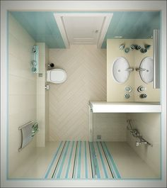 Astonishing Bathroom in Tiny Spaces Blue Strips Brown Interior White Washbasin
