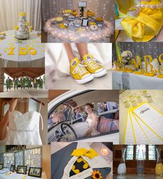 Grey and Yellow Wedding Inspiration. This pin has a visual for everything I envisioned for my wedding. With a little tweaking ;)