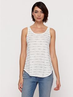 Scoop Neck Long Tank in Painterly Organic Linen Jersey