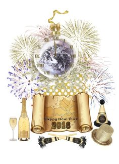"""Happy New Year to the World"" by gabriele-bernhard ❤ liked on Polyvore featuring art and 2016"