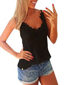 ZANZEA Sexy Women Summer Lace Vest T Shirt Tees Casual Blouse Camis Tank Tops Black SUS 46 >>> Check this awesome product by going to the link at the image.