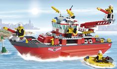 LEGO Boats | Lego city 7207 fire boat red Lego City 7207 Fire Boat