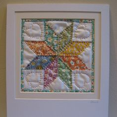 Quilted Star Block Picture - Vintage Prints £21.95 - a handsewn patchwork block in a simple wooden frame