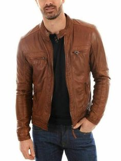 Leather jacket for men's brown sheep antique leather jacket custom made orders as per your requirement we will give you Dear customer,Please note the below measurements which are in inches / Measurements (Inches):  Shoulder= 17Chest= 45Tummy / Stomach = 40Sleeves= 25Bottom = 40Length of jacket = 27Fitting = Comfort FitPlease note we do keep loosing from the body measurement.You can measure your body before ordering , Please click on the below link video for guidance (or) for reference… Best Leather Jackets, Leather Jacket Outfits, Vintage Leather Jacket, Lambskin Leather Jacket, Biker Leather, Leather Men, Brown Leather Jacket Men, Real Leather, Mens Casual Jackets